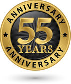 55 years anniversary gold label, vector illustration  — Stock Vector