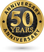 50 years anniversary gold label, vector illustration  — Stock Vector