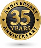 35 years anniversary gold label, vector illustration  — Stock Vector