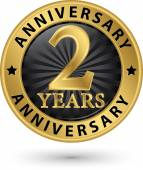 2 years anniversary gold label, vector illustration  — Stock Vector