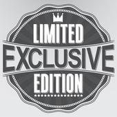 Exclusive limited edition retro label, vector illustration — Stock Vector