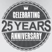 Celebrating 25 years anniversary retro label, vector illustration — Stock Vector