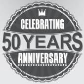 Celebrating 50 years anniversary retro label, vector illustratio — Stock Vector