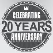 Celebrating 20 years anniversary retro label, vector illustratio — Stock Vector