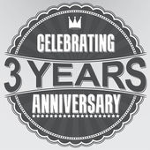 Celebrating 3 years anniversary retro label, vector illustration — Stock Vector