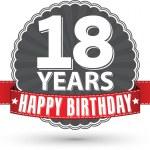 Happy birthday 18 years retro label with red ribbon, vector illu — Stock Vector #64467119
