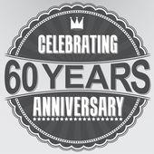 Celebrating 60 years anniversary retro label, vector illustratio — Stock Vector