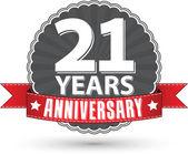 21 years anniversary retro label with red ribbon, vector illustr — Vetor de Stock