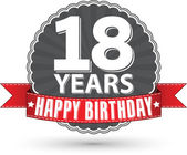 Happy birthday 18 years retro label with red ribbon, vector illu — Vector de stock