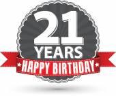 Happy birthday 21 years retro label with red ribbon, vector illu — Vetorial Stock