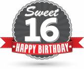 Happy birthday 16 years retro label with red ribbon, vector illu — Vector de stock