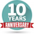 Flat design 10 years anniversary label with red ribbon, vector i — Stock Vector #68523299
