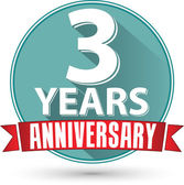 Flat design 3 years anniversary label with red ribbon, vector il — Stock Vector