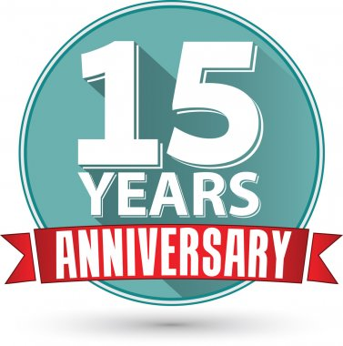 Flat design 15 years anniversary label with red ribbon, vector i