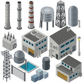 Isometric industrial buildings and other objects — Stock Vector