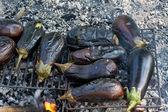 Outdoor fire roasted eggplant — Foto de Stock