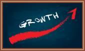 Growth diagram on chalkboard — Vetor de Stock