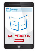 Back to school message on tablet screen — ストックベクタ