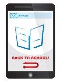 Back to school message on tablet screen — Vector de stock