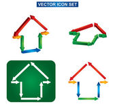 Color building and house icon set — Vector de stock