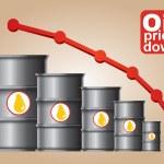 Crude oil price down — Stock Vector #59549265
