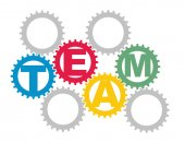 Team concept with color gears — Stock Vector