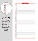 January, montly planner Calendar - 2015 — Stock Vector