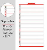September, montly planner Calendar - 2015 — Stock Vector