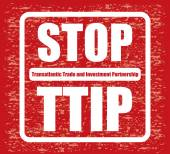 Red banner or poster with stop TTIP sign — 图库矢量图片