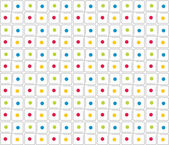 Square grid and color dots — Stock Vector
