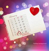 Valentine's day with  calendar — Stok Vektör