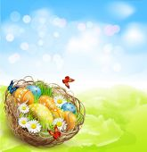 Easter nest and eggs — Stock Vector