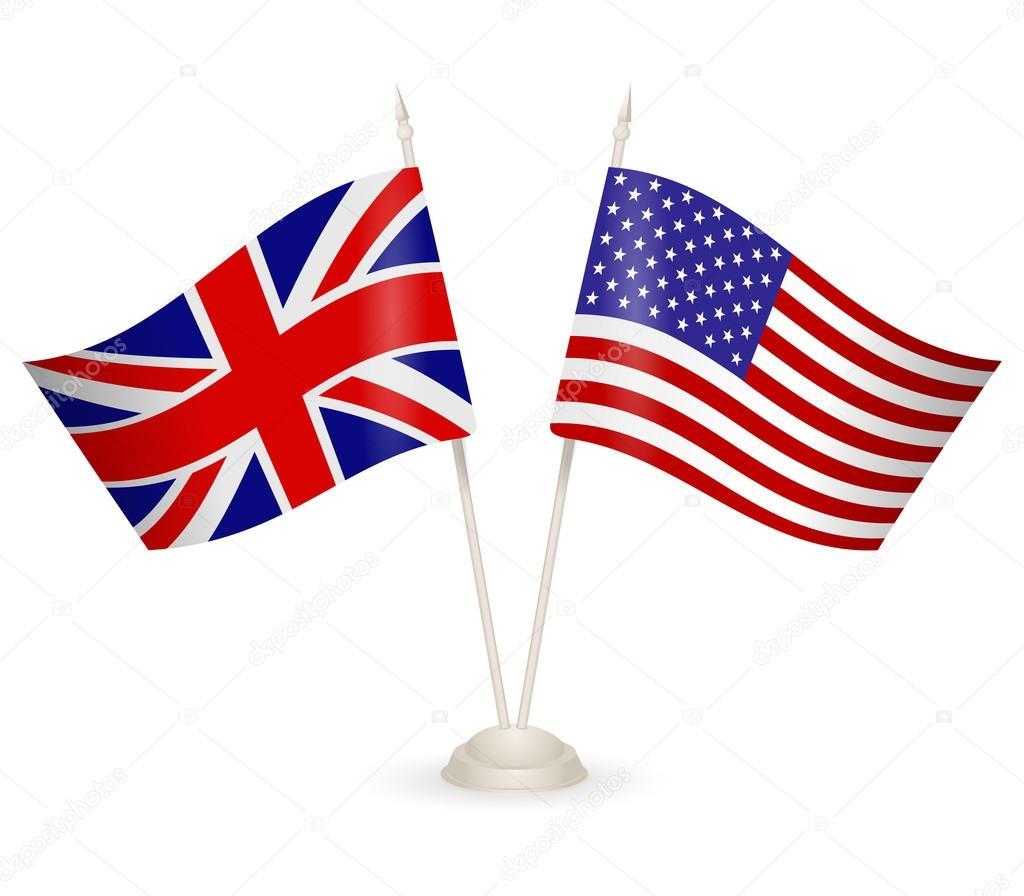 Supporto da tavolo con le bandiere dell 39 inghilterra e stati uniti d 39 america vettoriali stock - Porta bandiere da tavolo ...