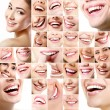 Collection of human smiles with healthy white teeth. — Stock Photo #52013239