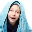 Little boy  after shower with bath towel — Stock Photo #52016295