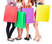 Girls with shopping  bags — Stockfoto