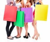 Dívky s nákupní tašky — Stock fotografie
