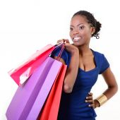 African woman with shopping bags — Stockfoto