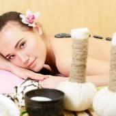 Woman  getting  stone massage — Stock Photo