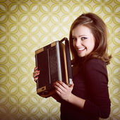 Woman with vintage radio — Stock fotografie