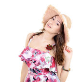 Woman in summer hat — Stock Photo