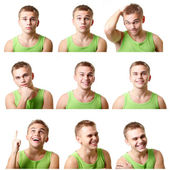 Young man emotional faces — Stock Photo