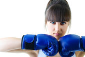 Woman in boxing gloves — Stock Photo