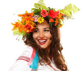 Ukrainian woman in garland of flowers — Stock Photo