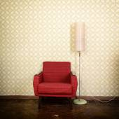 Vintage armchair and lamp — Stock Photo