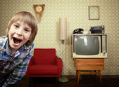 Little boy in vintage room — Stock Photo