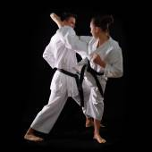 Couple de karaté combat — Photo