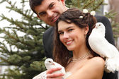 Young  wedding couple with pigeons pair — Stock Photo