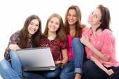 Teen girls learning — Stock Photo