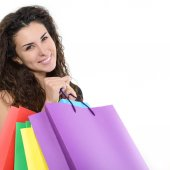 Mulher com sacos de compras — Fotografia Stock